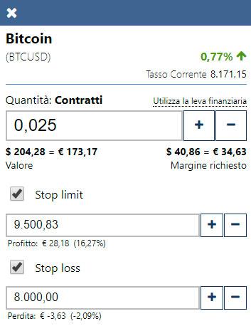 Esempio di applicazione stop nel trading su bitcoin con Plus500