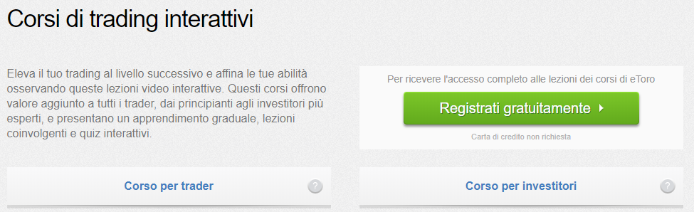 Accesso ai corsi di trading interattivi sul sito di eToro