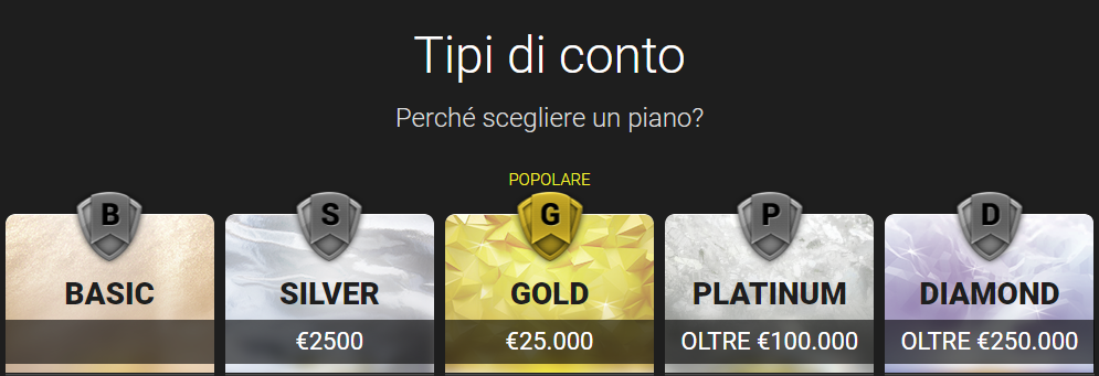 Le tipologie di conto disponibili su 24option