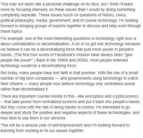 Le parole di Zuckerberg circa le criptovalute